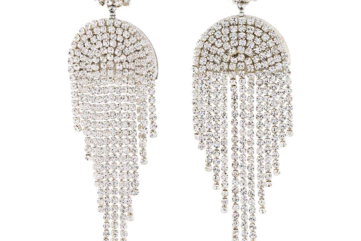 oscar de la renta crystal drapedd fringe earrings