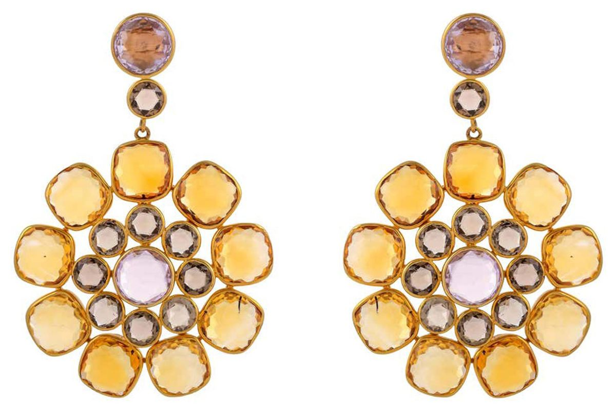 exquisite color kraft pvt ltd 80 41 carat citrine amethyst and smoky quartz 18 karat yellow gold earring
