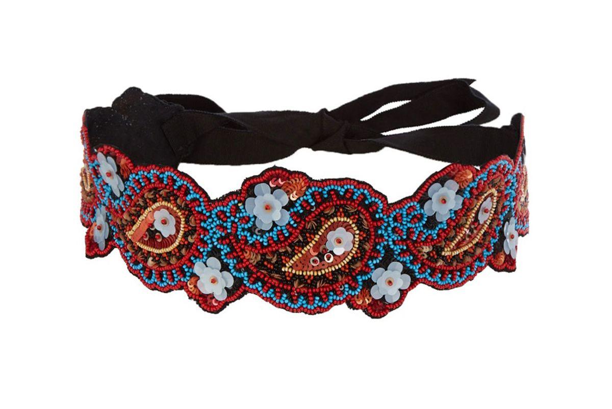 Floral-Embroidered Belt