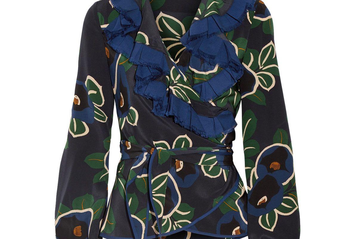 Jacinta Ruffle-Trimmed Floral-Print Silk Crepe de Chine Wrap Top