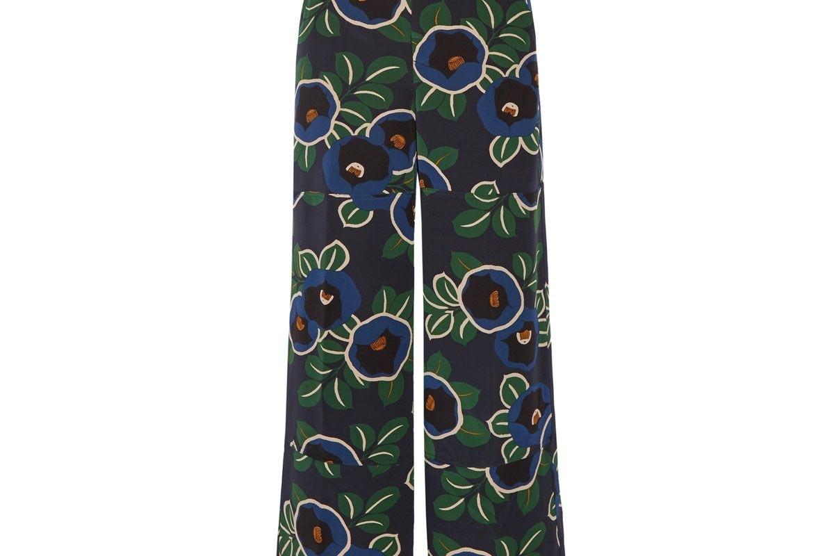 Jacinta Floral-Print Silk Crepe de Chine Wide-Leg Pants