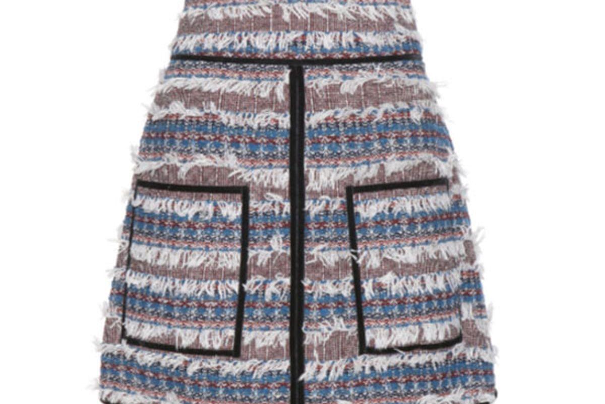 Velvet-Trimmed Tweed Skirt