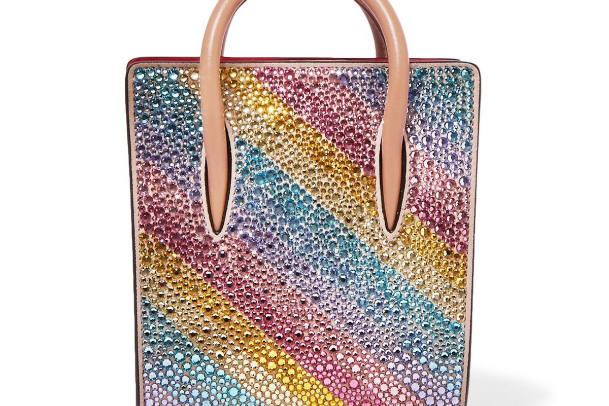 Paloma Nano Embellished Metallic Textured-Leather Tote