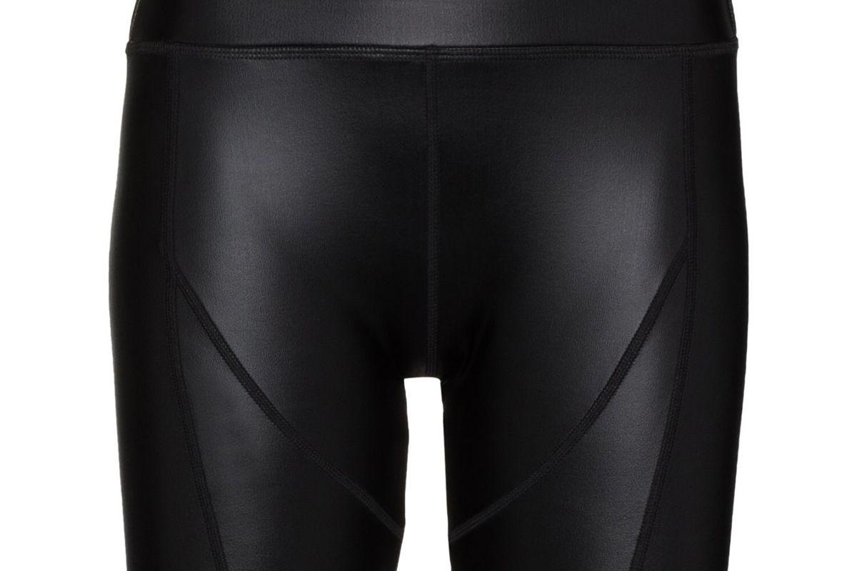 danielle guizio faux leather cycling shorts