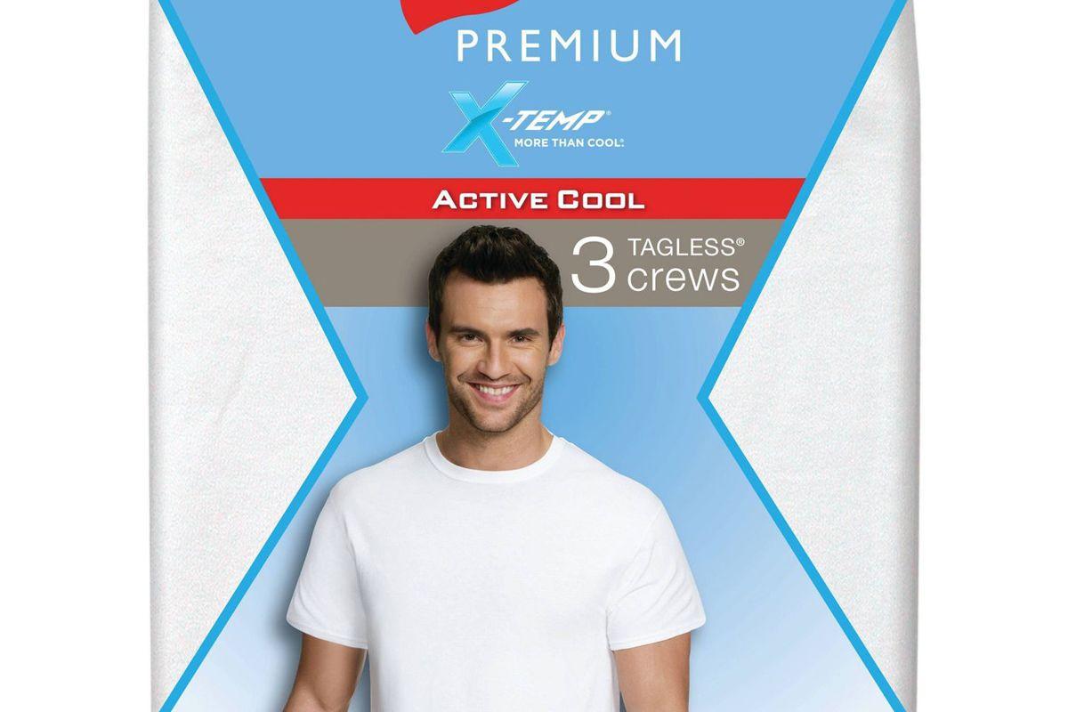 hanes premium mens 3pk xtemp crew neck t shirt under shirt white