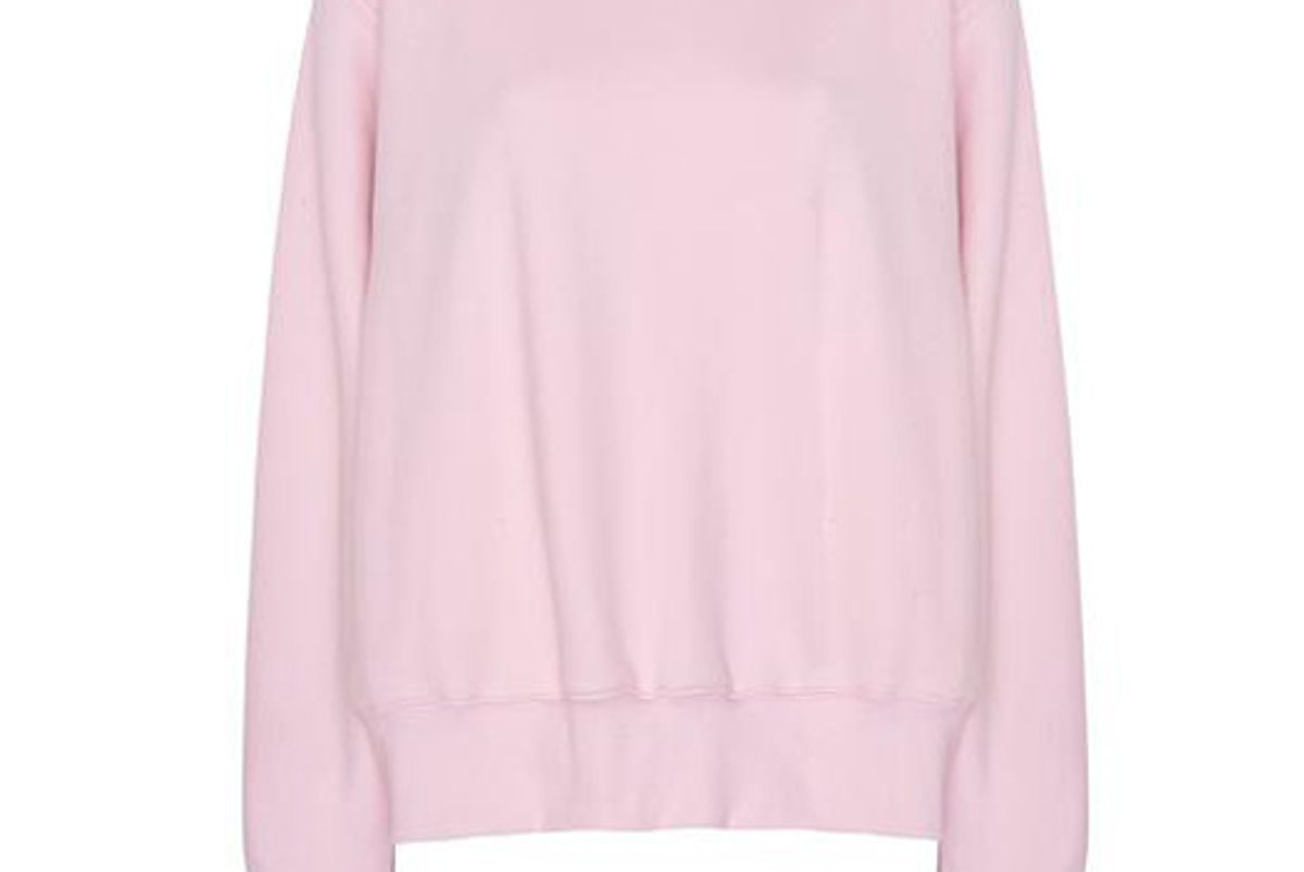 the frankie shop vanessa padded shoulder sweatshirt in bubble pink