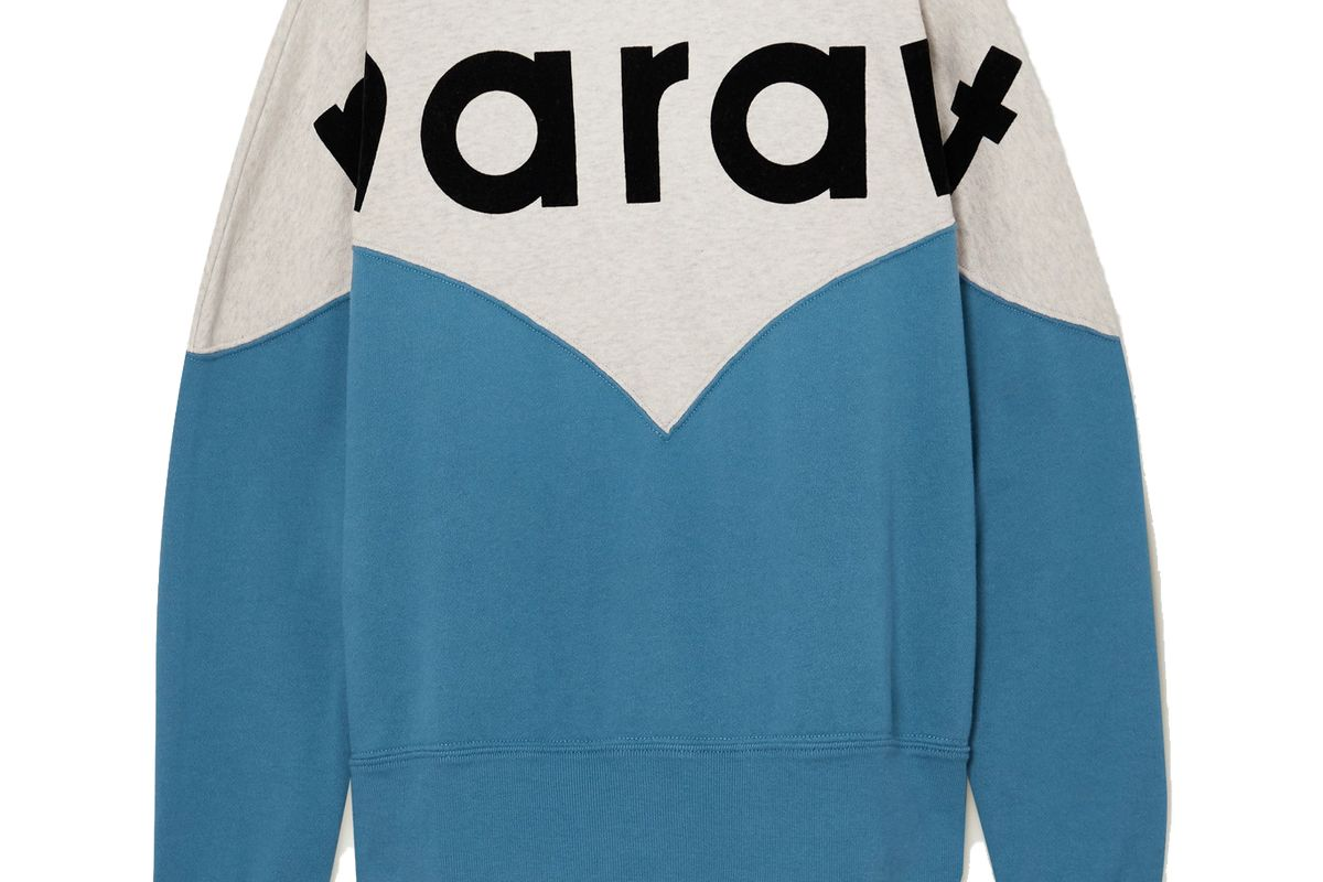 isabel marant etoile houston flocked color block cotton blend jersey sweatshirt