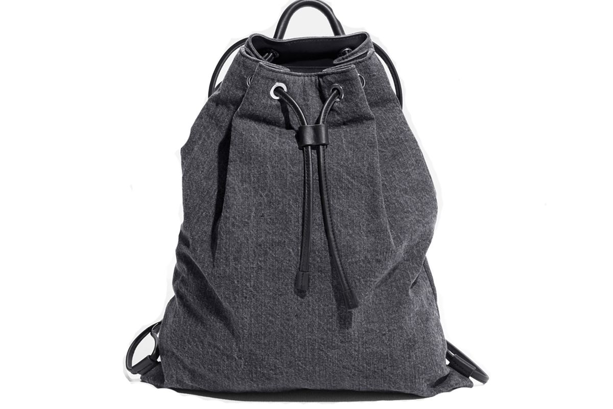 Denim and leather backpack