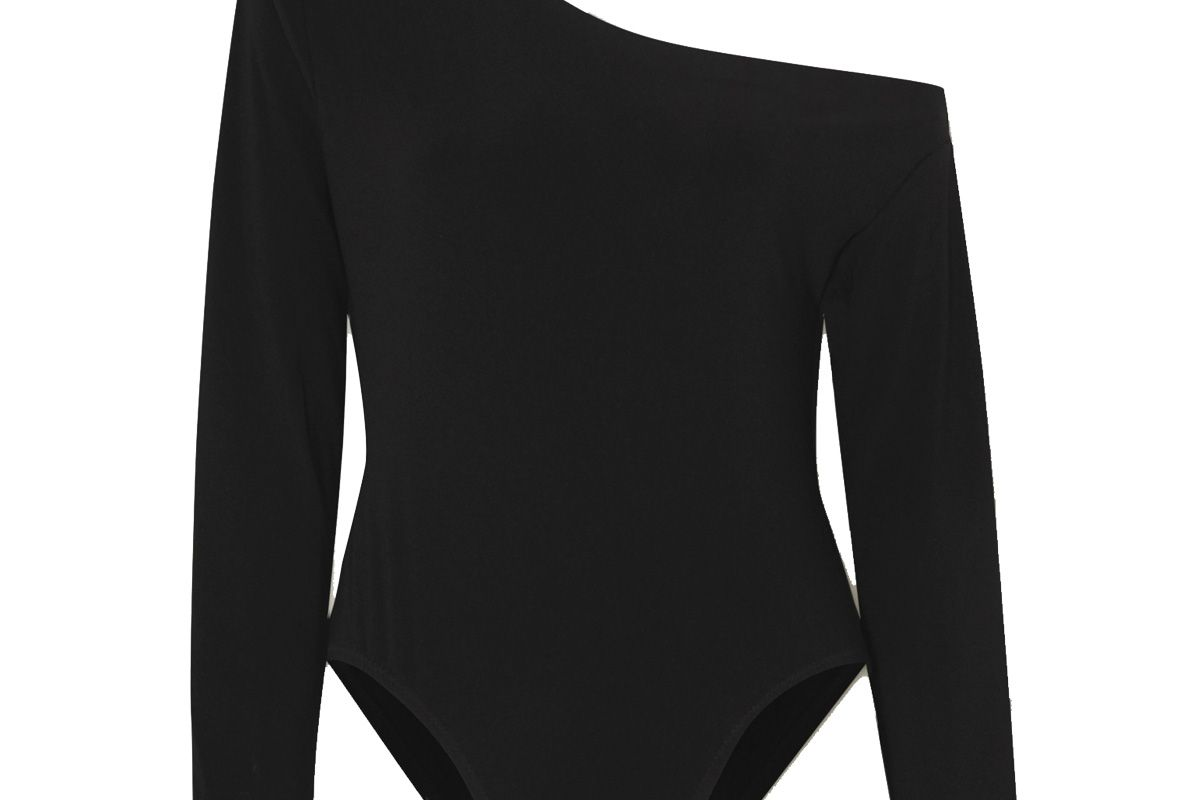 norma kamali one shoulder stretch jersey bodysuit