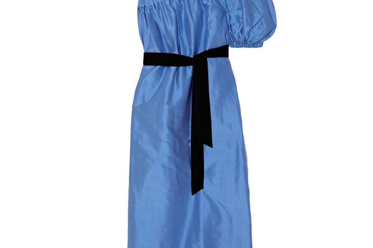 artclub aster one shoulder velvet trimmed silk dupioni midi dress