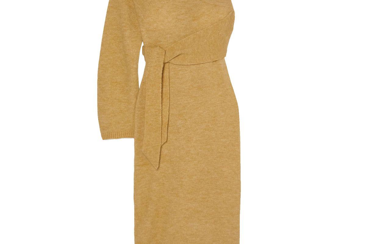 nanushka cedro one sleeve tie detailed stretch knit midi dress