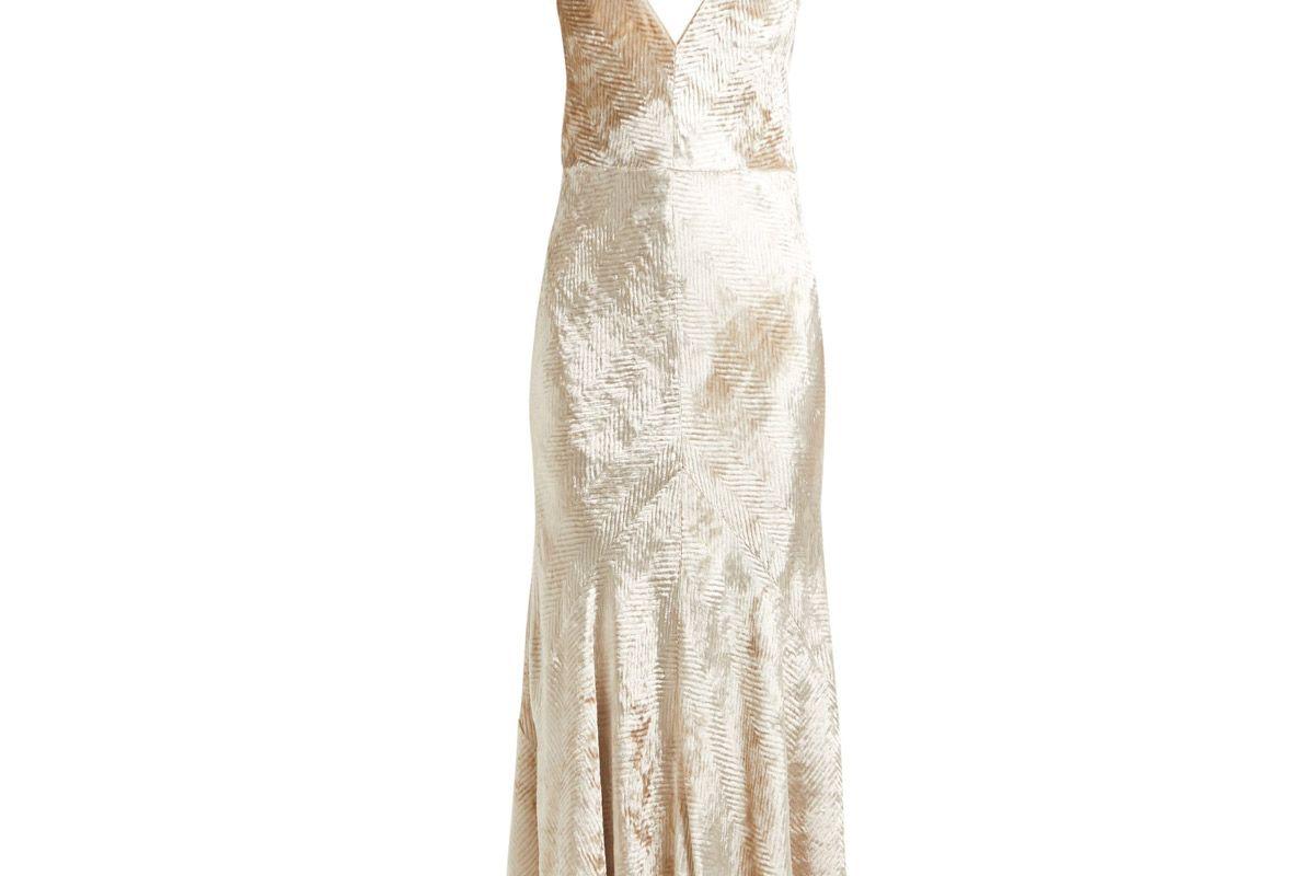 gabriela hearst bridget herringbone velvet slip dress