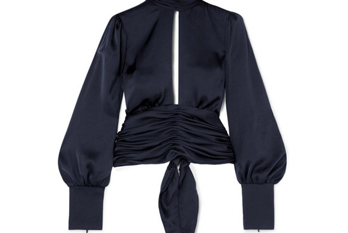 orseund iris night out ruched satin blouse
