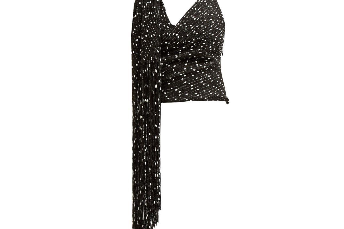 jacquemus valoria fringed tweed top