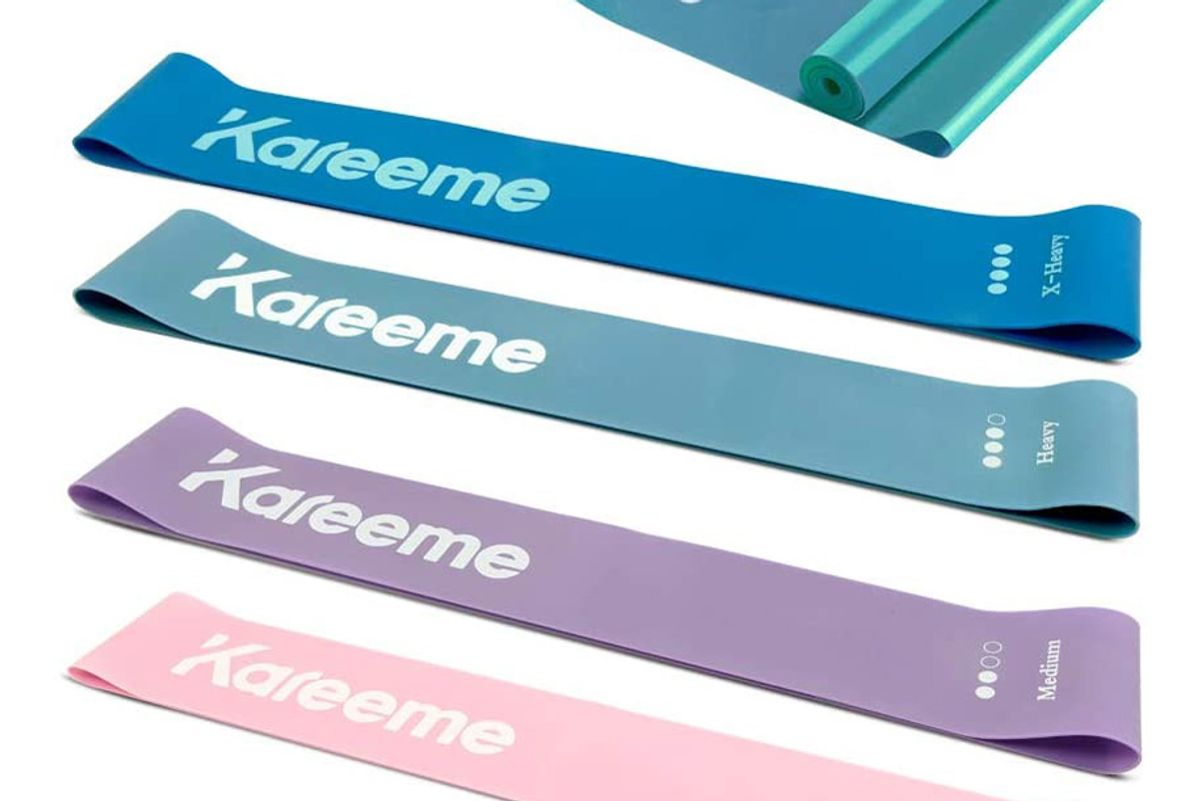 kareeme resistance band set exercise loop bands with extra latex elastic bands for legs butt core and arm home fitness crossfit stretching strength training physical therapy workout for women and men