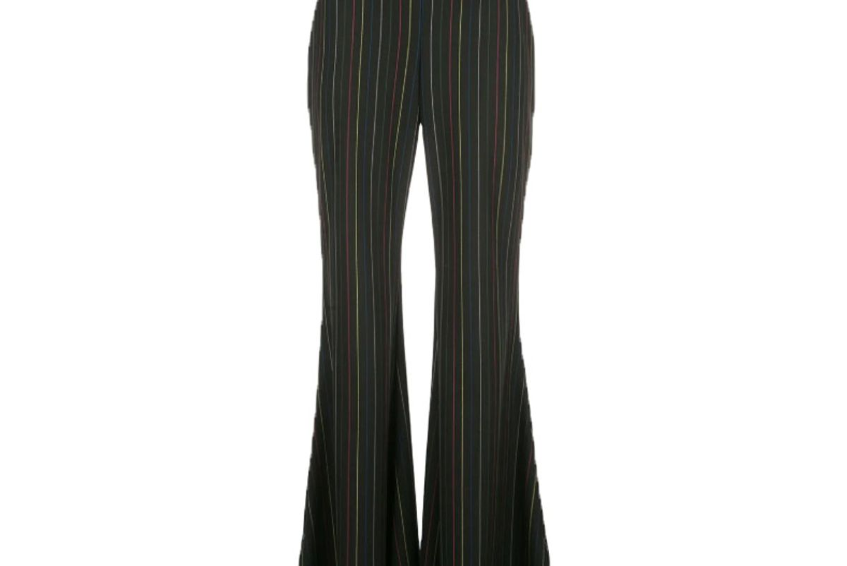 staud pinstriped flared trousers