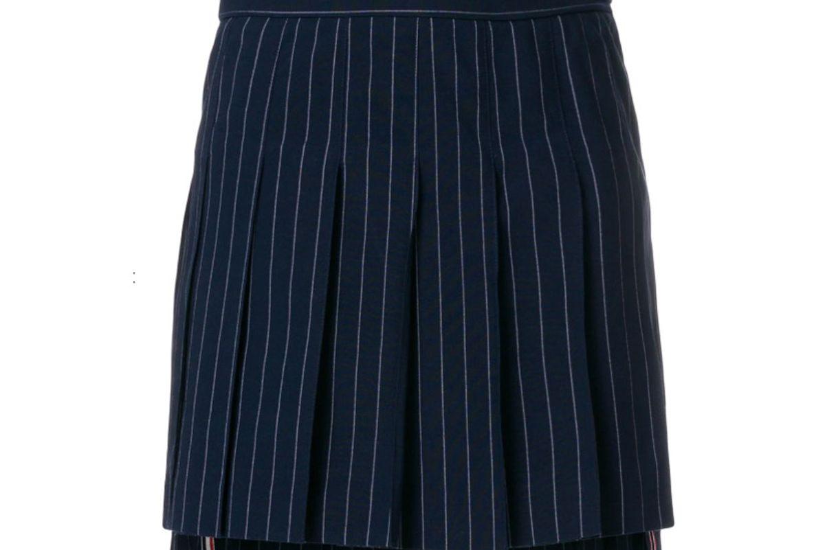 thom browne chalk stripe pleated mini skirt