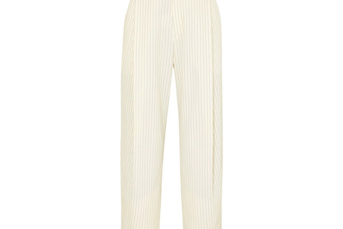 chloe cropped pinstriped woven tapered pants