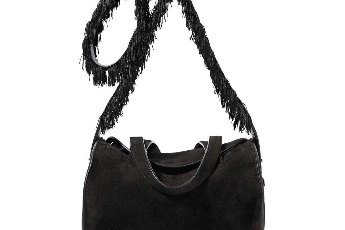 Drum Fringed Textured Leather-Trimmed Suede Shoulder Bag