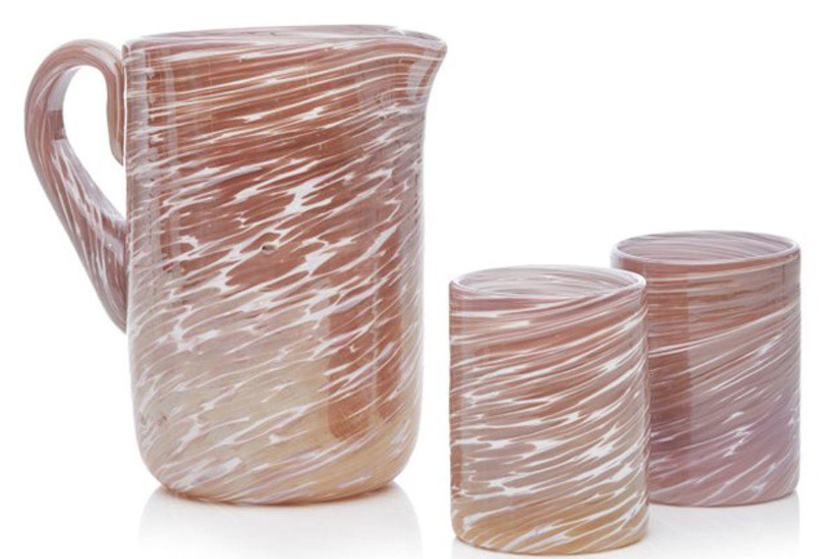 bisanzio pitcher and glass set
