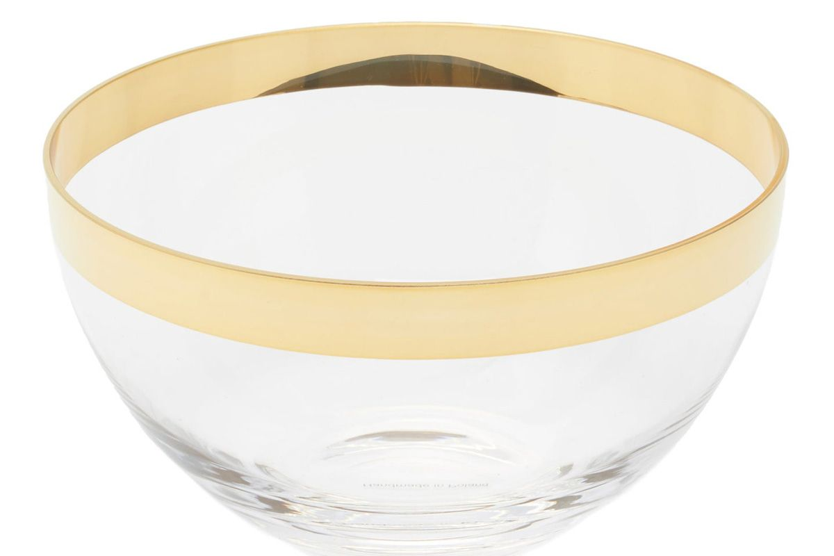 aerin gabriel large 24kt gilded edge crystal bowl