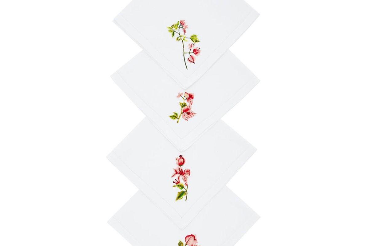 ibaba rwanda set of four embroidered linen napkins