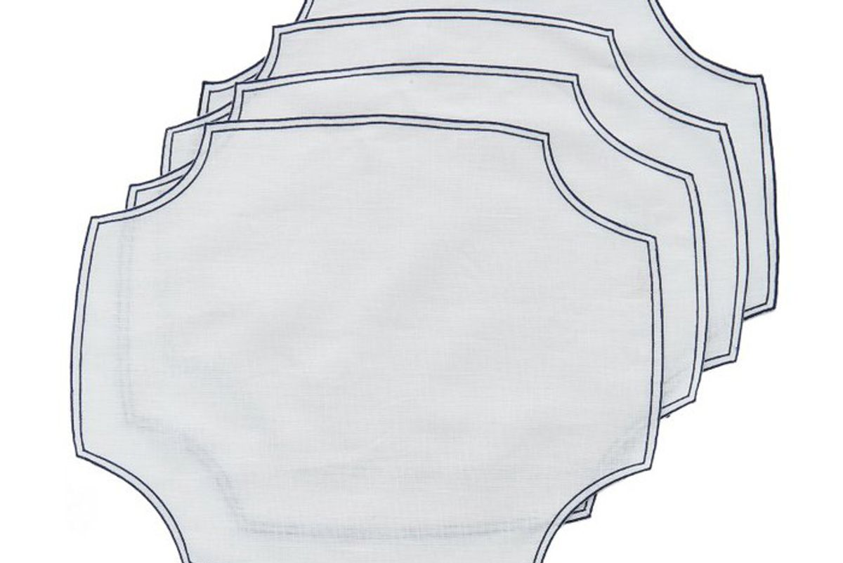 la gallina matta set of four embroidered linen placemats