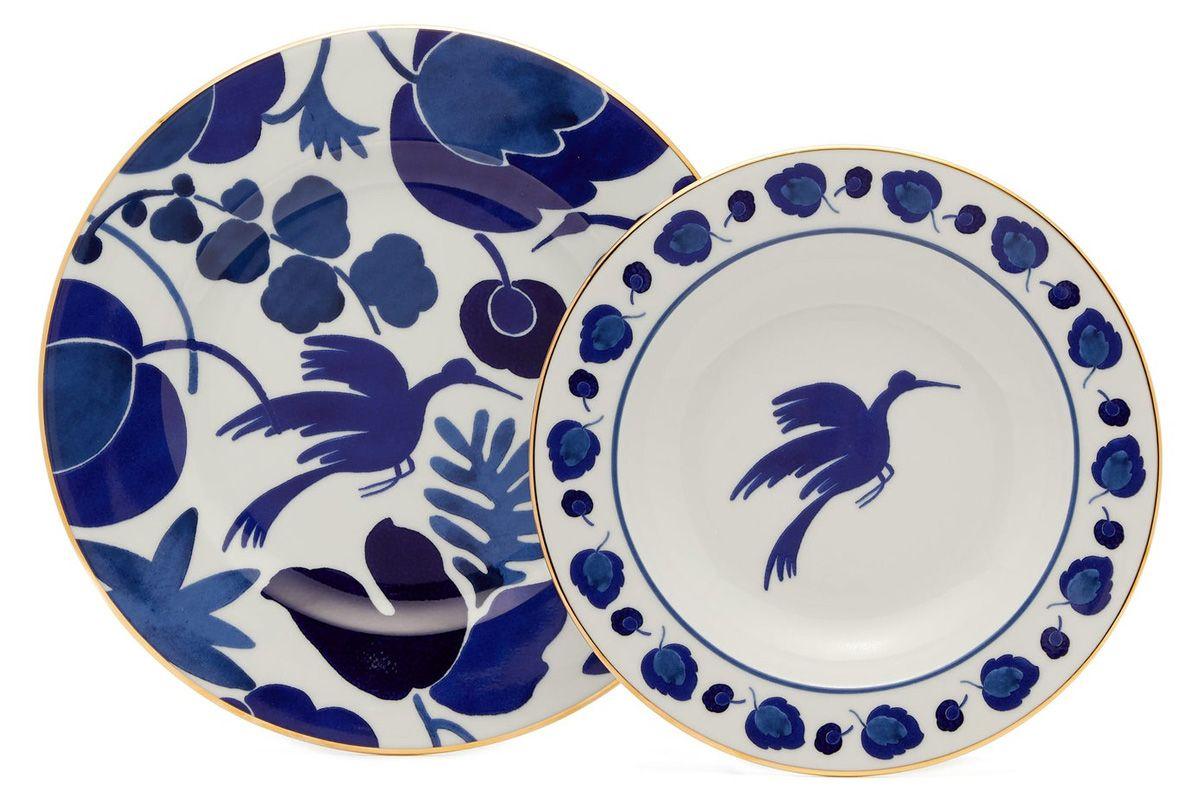 la doublej wildbird 18kt gilded porcelain set