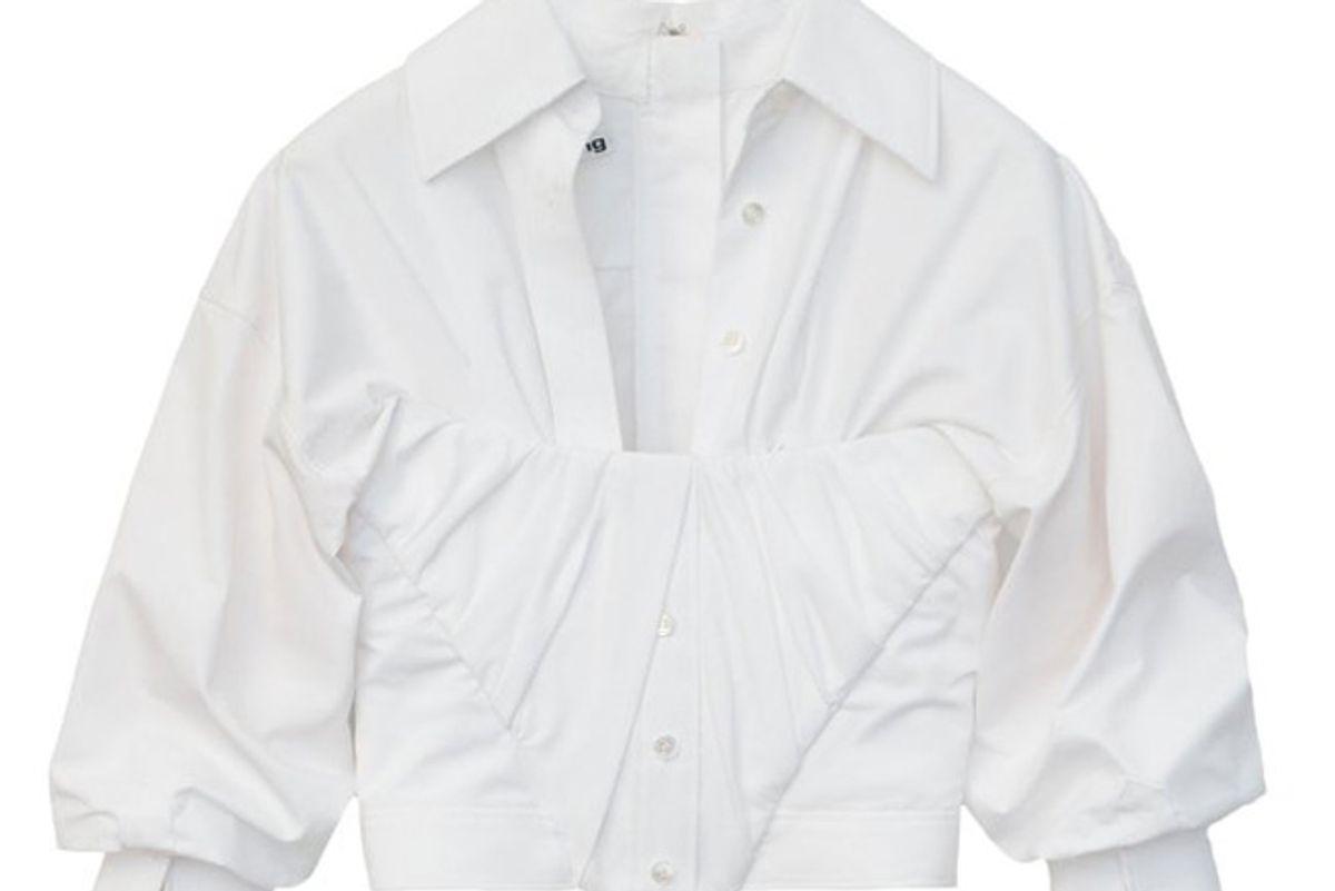 alexander wang pleated stretch jersey bustier crop top