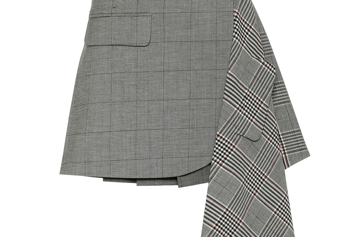 monse checked wool and cotton mini skirt