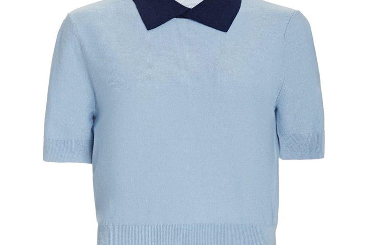 staud acorn wool blend polo sweater