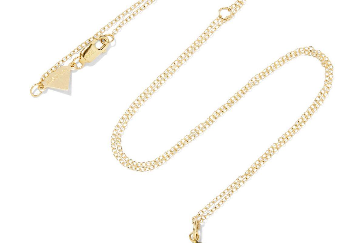 Small Crazy Face Enameled 14-Karat Gold Necklace