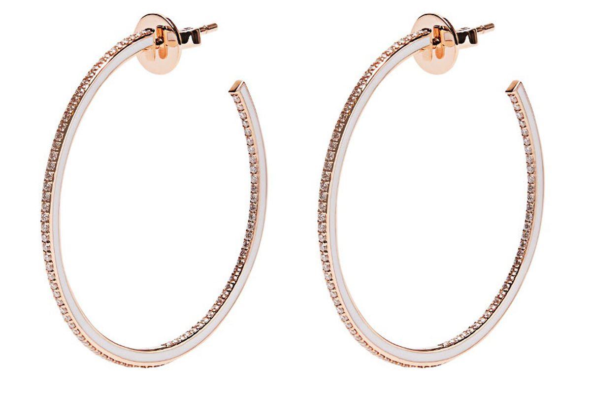 Skinny Deco Diamond, Enamel & Pink-Gold Earrings