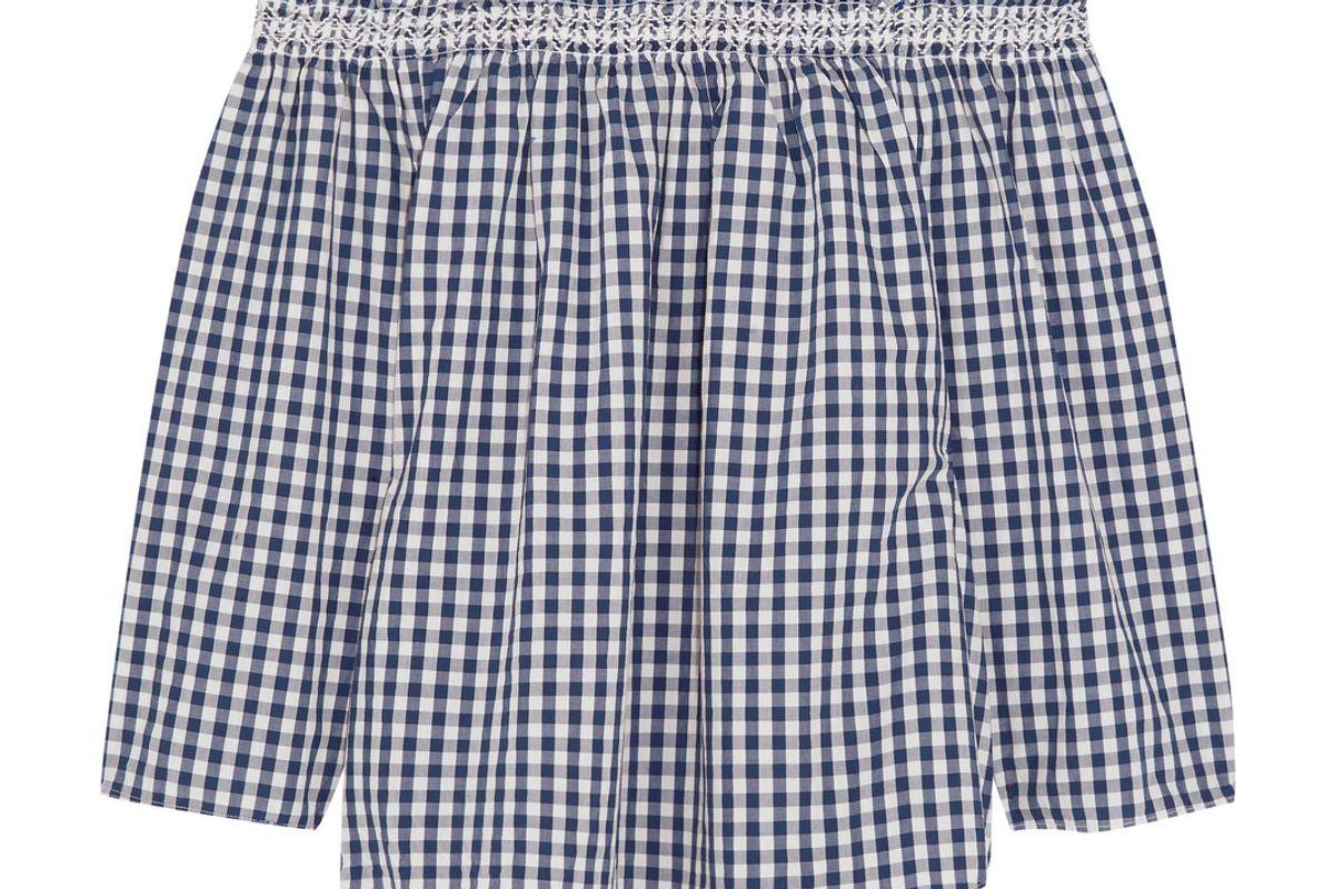Off-the-Shoulder Shirred Gingham Cotton Blouse
