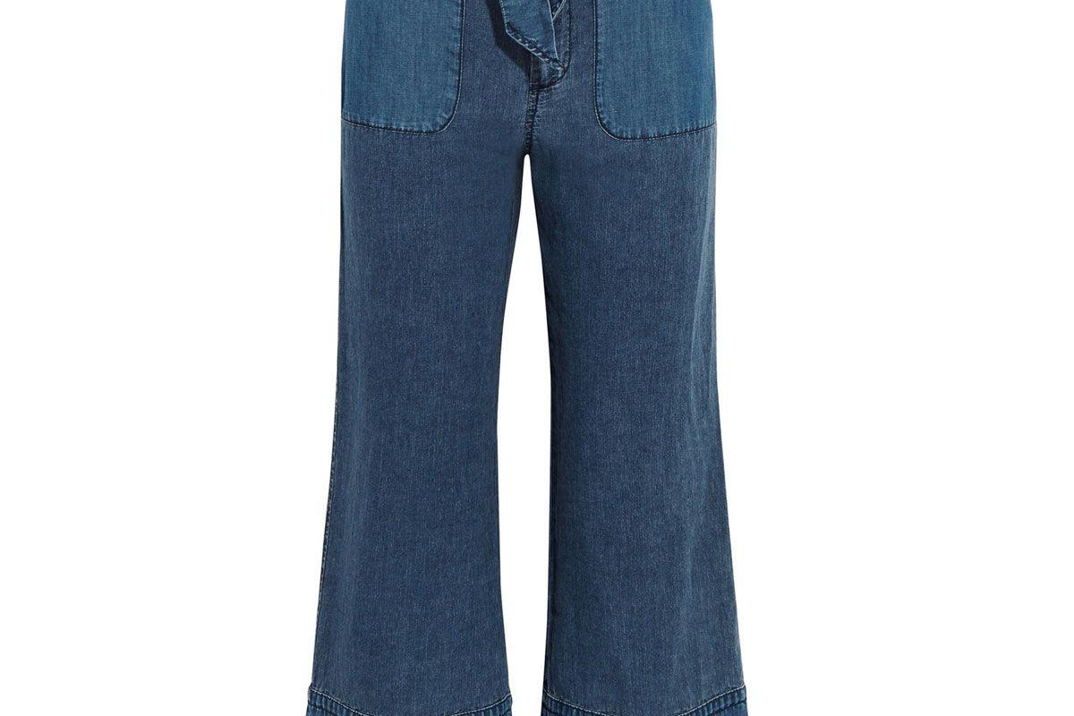Gaffney Linen-Blend Chambray and Denim Wide-Leg Pants