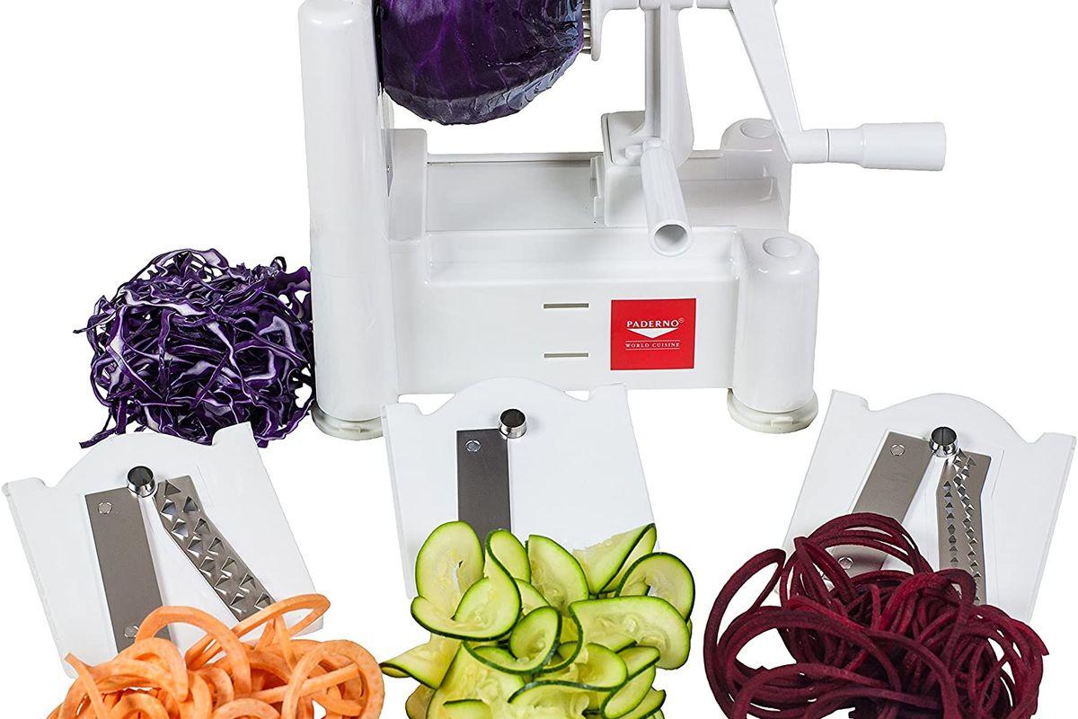 paderno world cuisine 3 blade vegetable slicer spiralizer