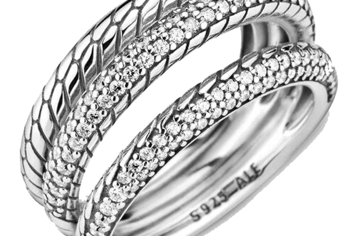 pandora triple band pave snake chain pattern ring