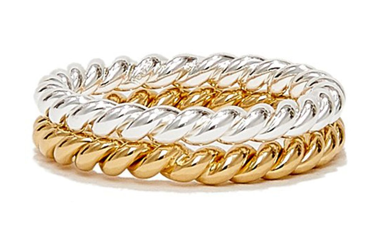 isabel lennse twisted sterling silver and gold plated ring set