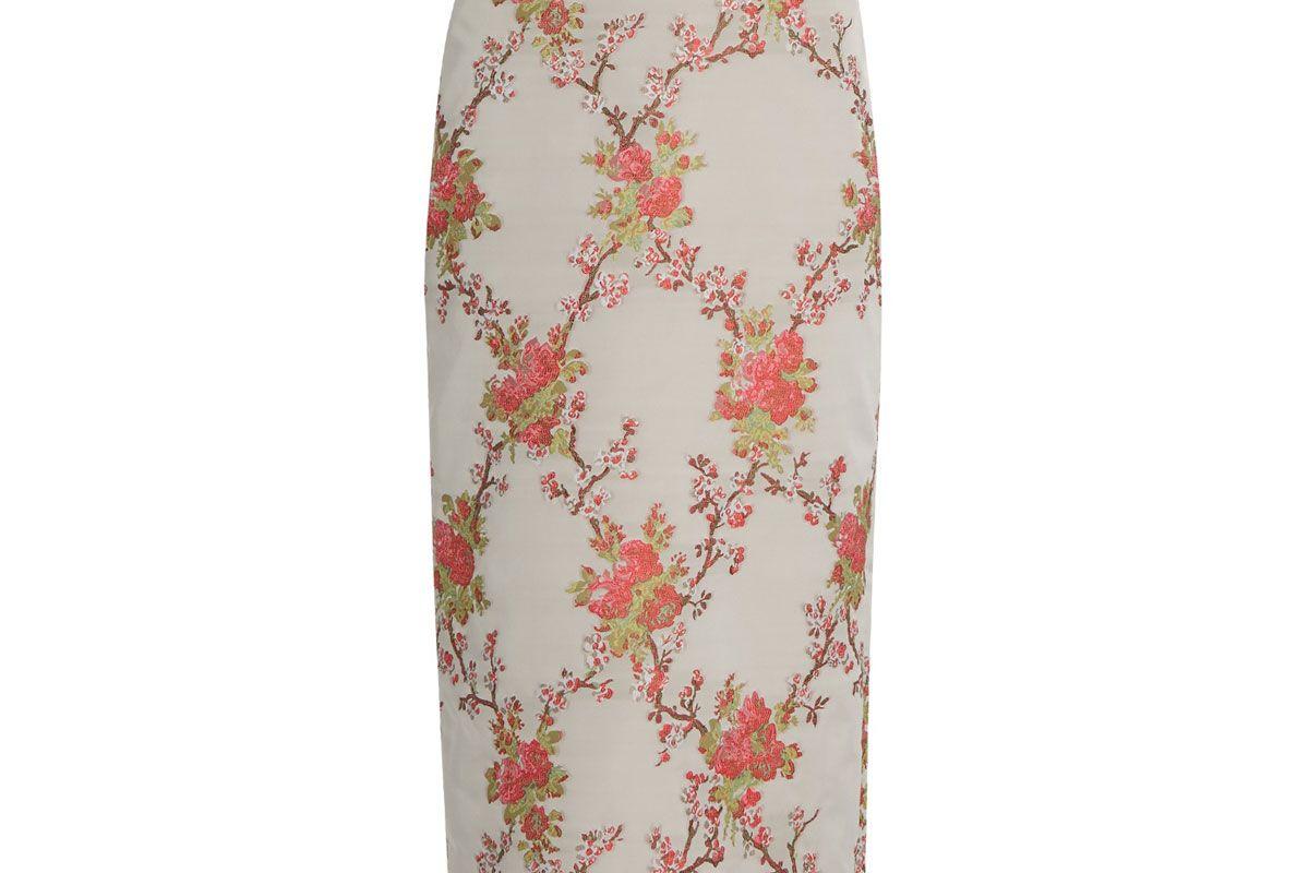 Snow Blossom-Jacquard Pencil Skirt