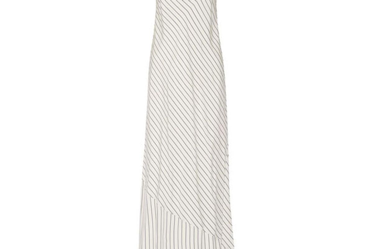 Streb Striped Silk Crepe de Chine Maxi Dress