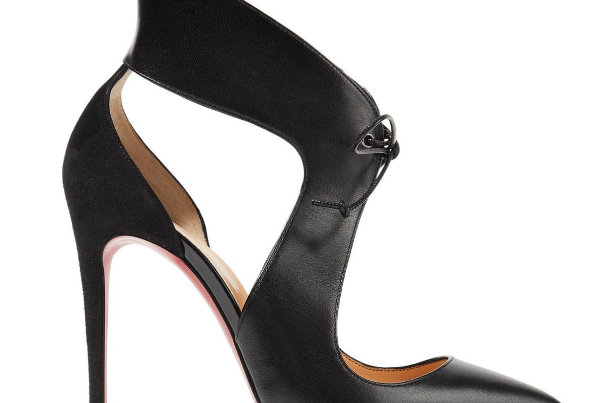Ferme Rouge Cutout Leather and Suede Pumps