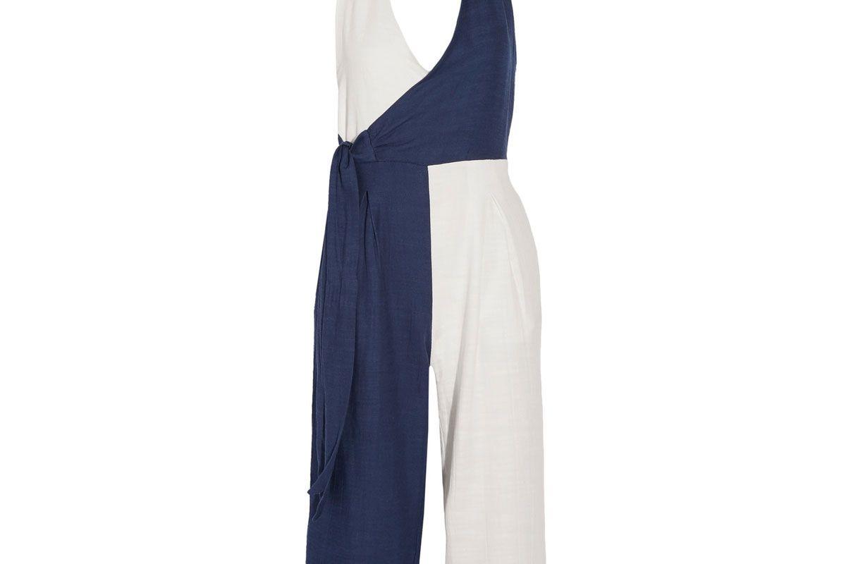 The Camille Color-Block Cotton-Blend Voile Halterneck Jumpsuit