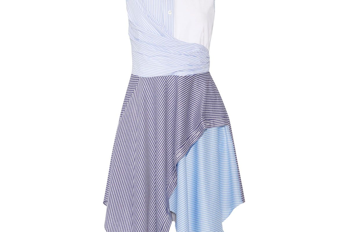 Cody Asymmetric Striped Cotton-Blend Poplin and Jersey Dress