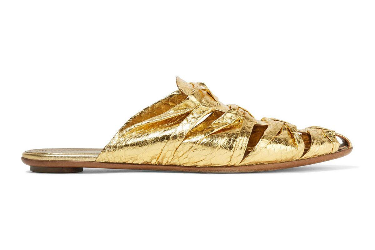 Capri Metallic Elaphe Slippers