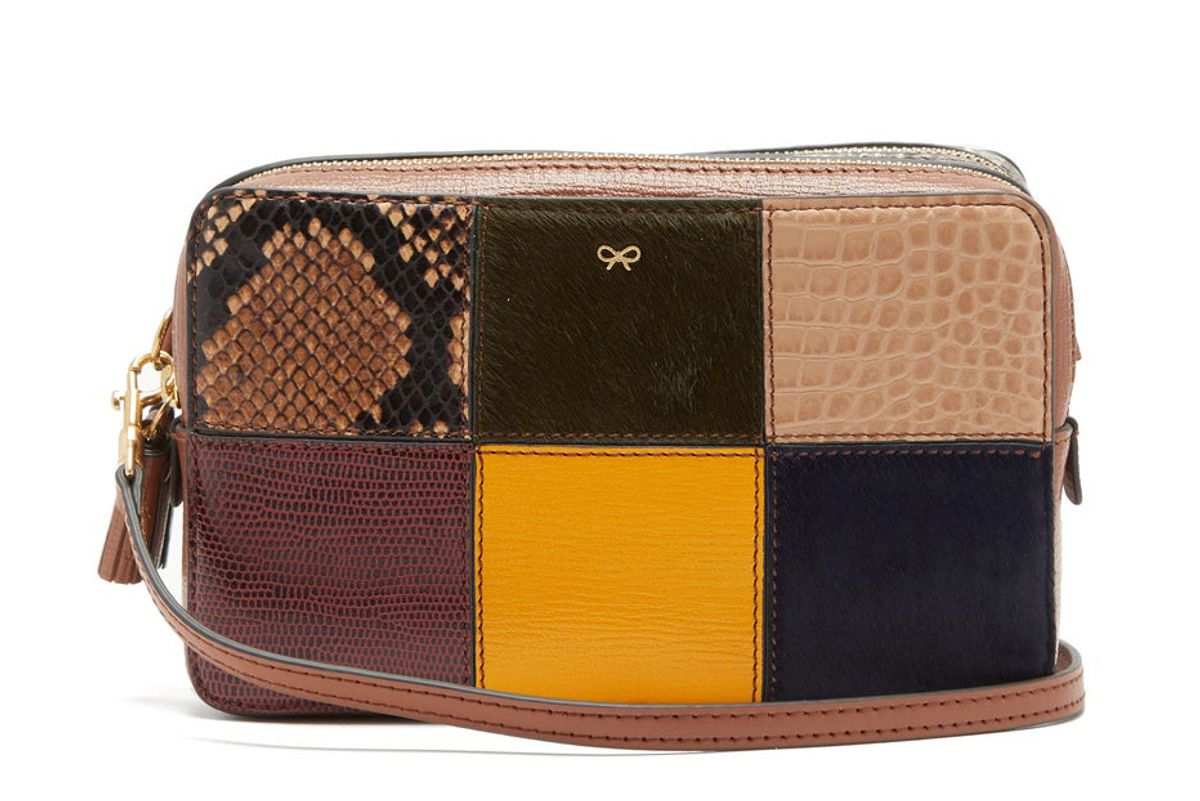 anya hindmarch patchwork snake effect leather cross body bag
