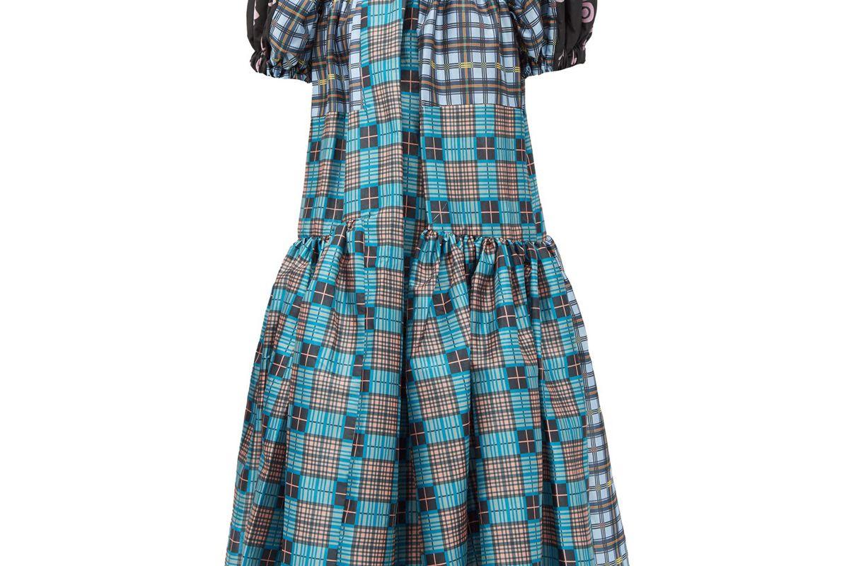 chopova lowena gathered upcycled tartan taffeta dress