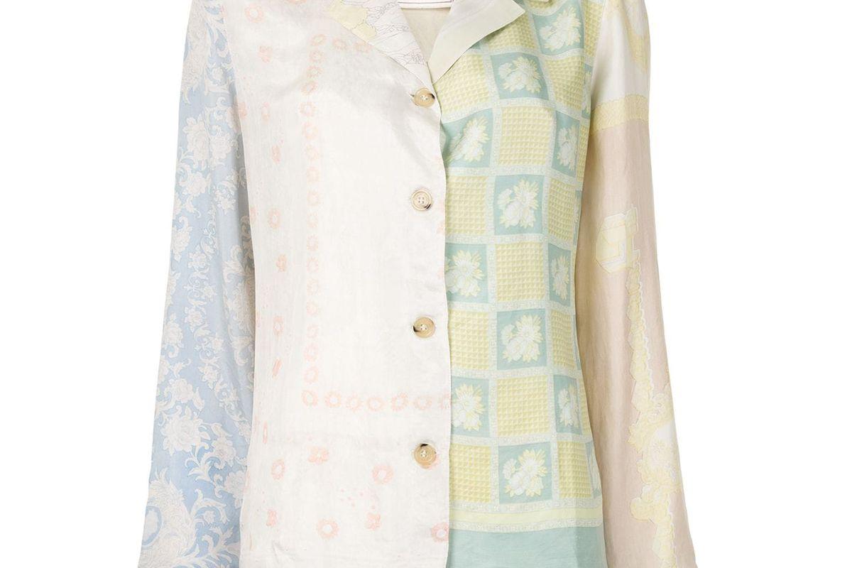 marine serre patch work long sleeve blouse