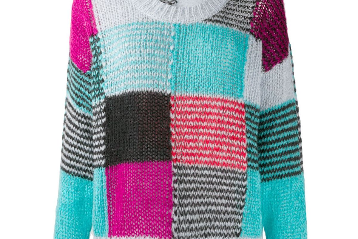 stine goya patchwork knit jumper