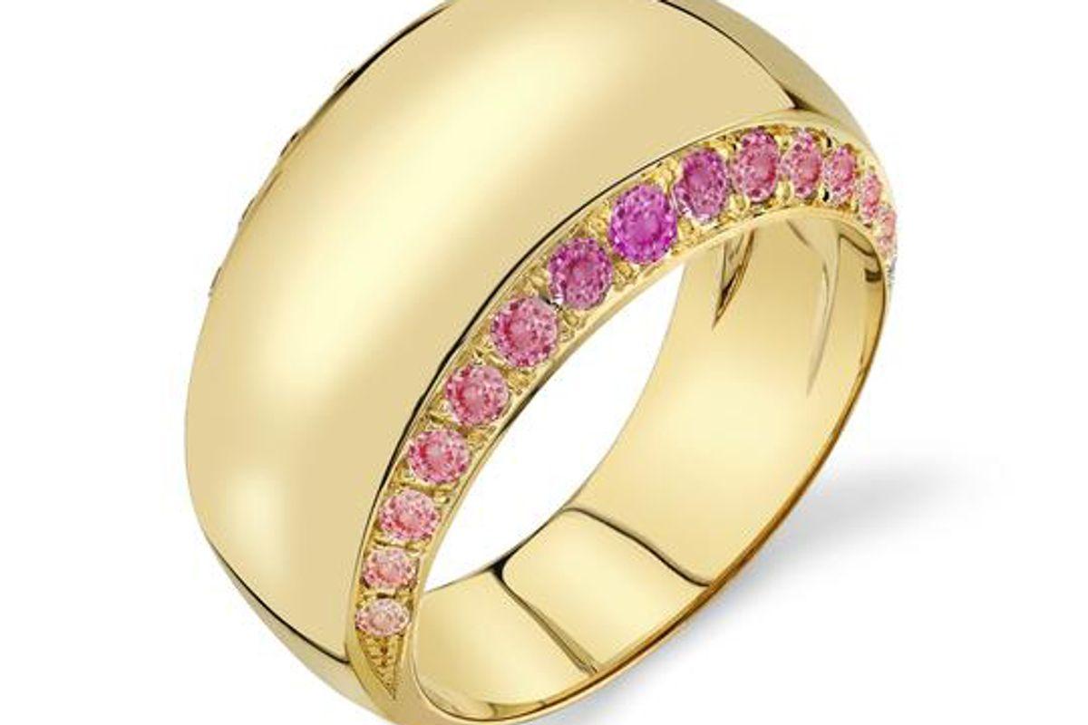 ark sunset gold sapphire infinity halo ring