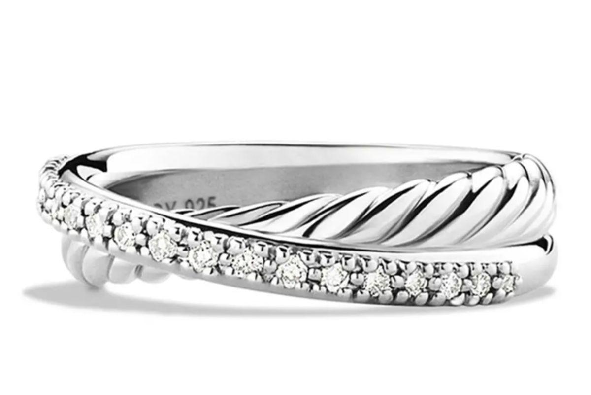 david yurman crossover ring with diamonds